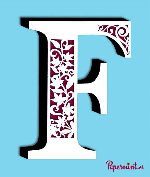 Letra decorativa F decorado floral