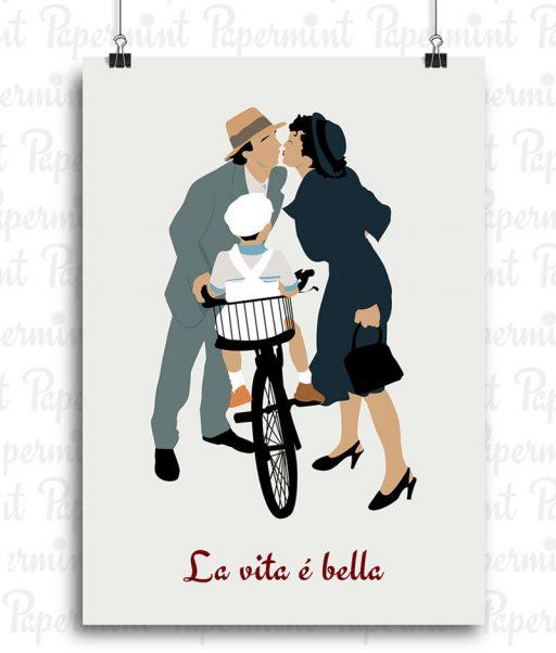 Poster La vida es bella con fondo liso poster personalizado Papermint