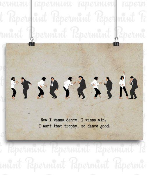 Ilustración con frase del baile de Pulp Fiction