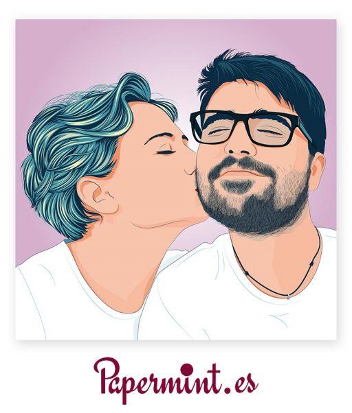 retratos de parejas pop art color