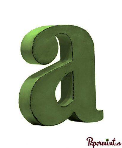 Letra decorativa minúscula verde en Papermint
