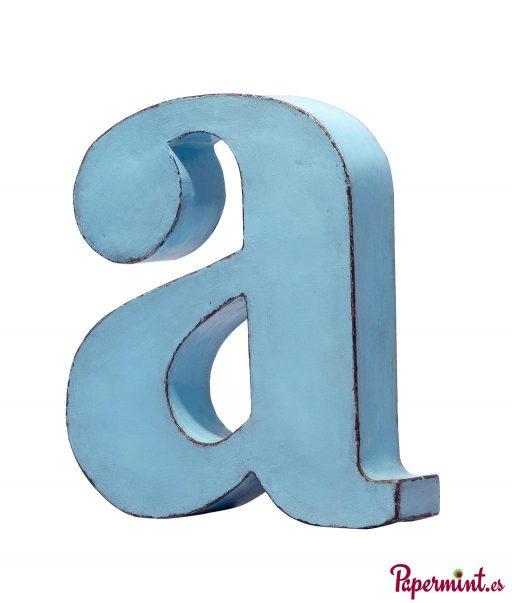 Letra decorativa azul turquesa en Papermint