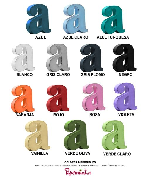 Carta colores de letras decorativas