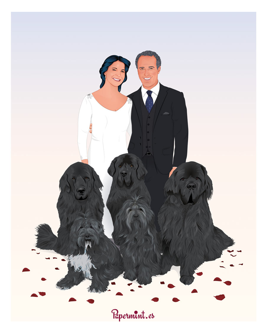 Retrato de boda personalizado con mascotas