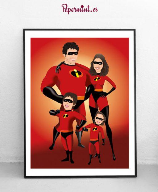 Retrato enmarcado de familia estilo superhéroes