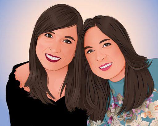 Retrato pop art de hermanas