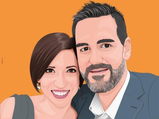 retrato pop art matrimonio