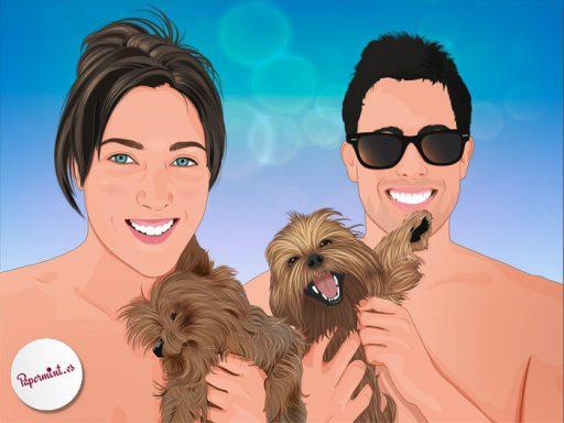 Retrato pop pareja con perros
