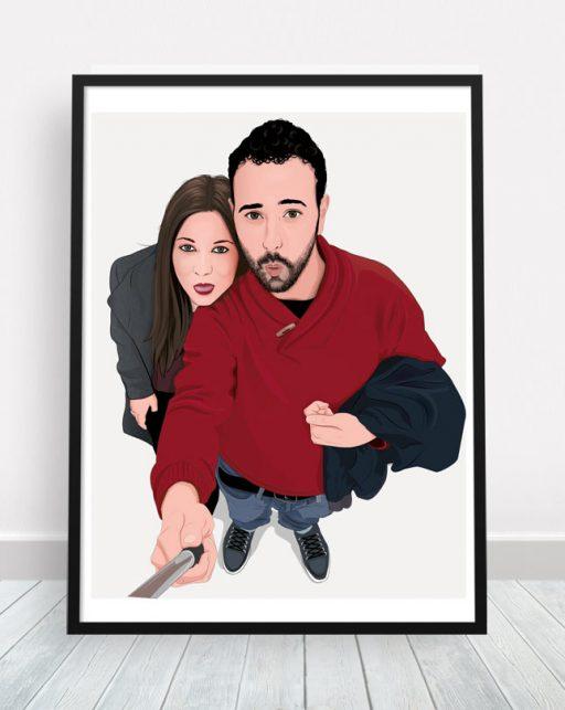 Retrato de pareja personalizado con marco.