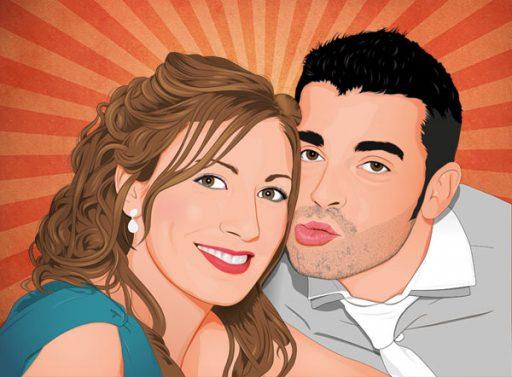 Retrato de pareja con fondo comic