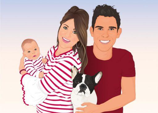 Retrato de familia, pareja, bebé y perro