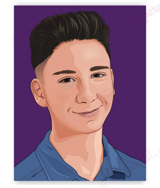 retrato comic de chico joven