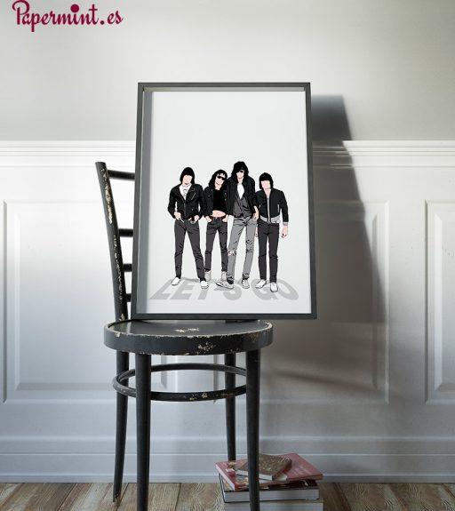 lámina con marco de los Ramones