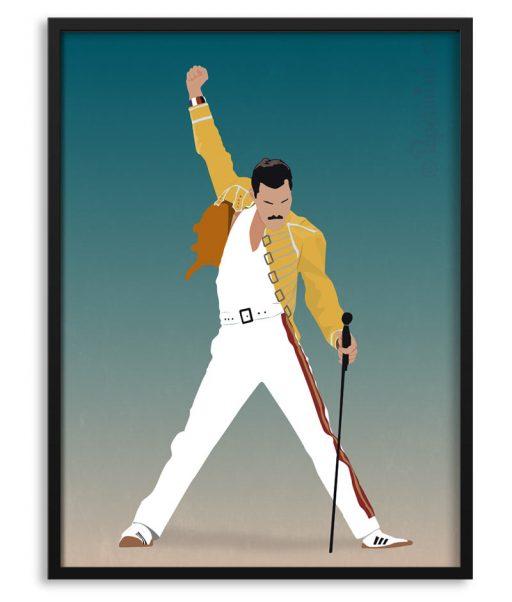 Póster Freddie Mercury con ilustración personalizada
