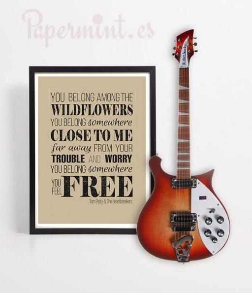cuadro con lámina de canción y guitarra