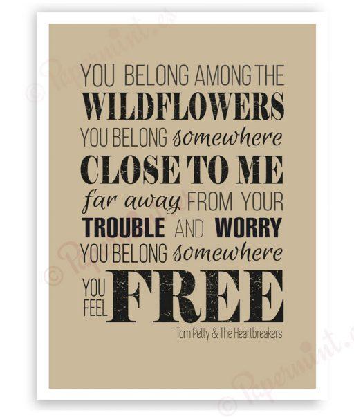 lámina poster con frase de Wildflowers