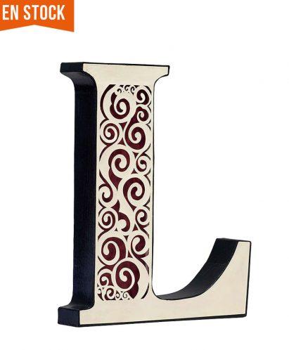 """Letra """"L"""" decorada con recorte a mano"""
