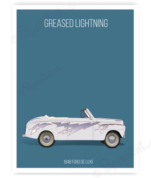 Póster del coche blanco de Grease