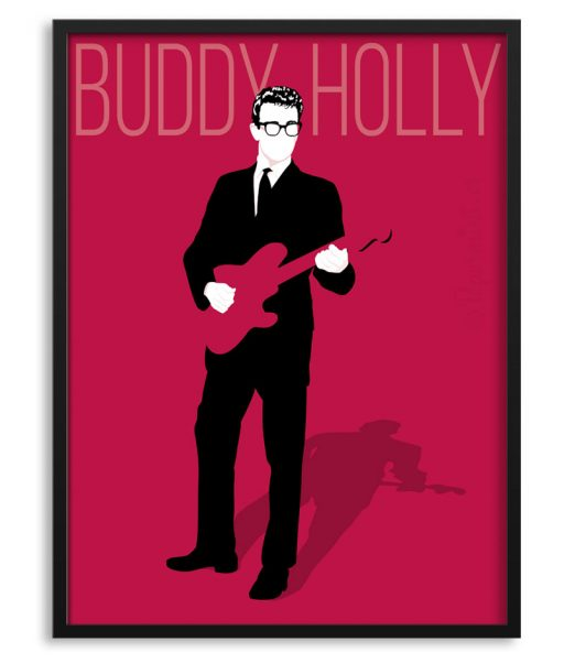 Póster de Buddy Holly con guitarra.