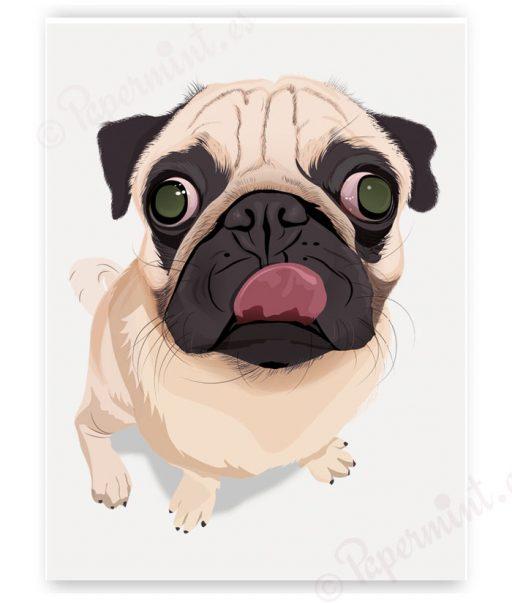 retrato perrito pug pop