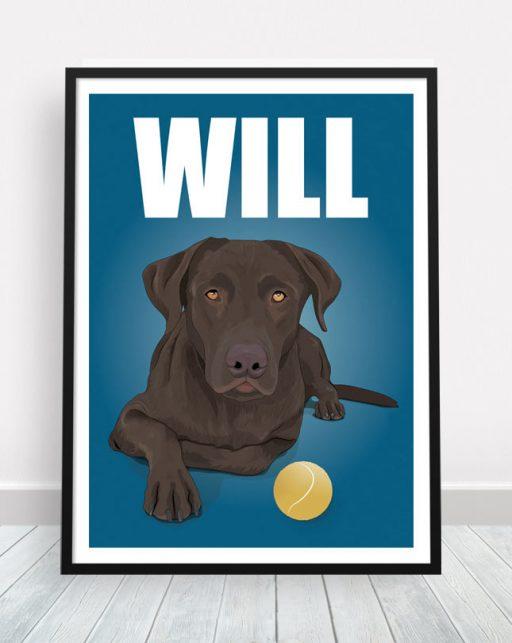 Retrato personalizado de perro con nombre estilo comic