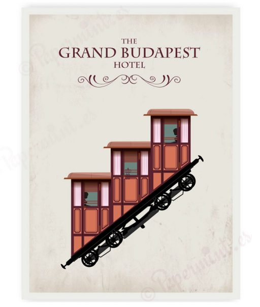 "poster fondo blanco ""El gran hotel Budapest"""
