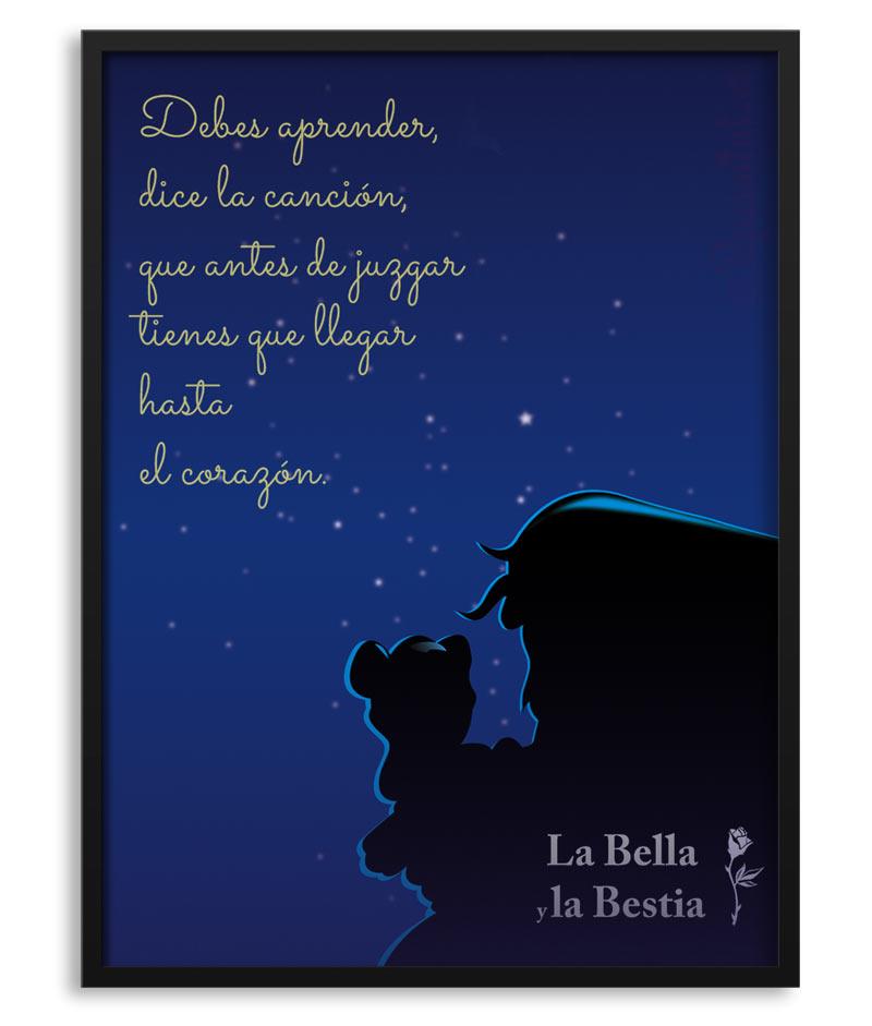 Póster De La Bella Y La Bestia Lámina Personalizada Con Frase