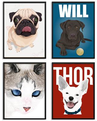 Retratos de mascotas personalizados