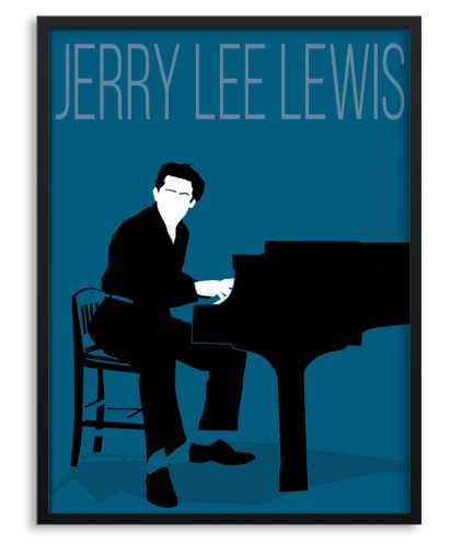 Póster de Jerry Lee Lewis al piano.