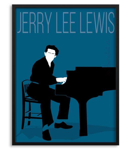 Póster de Jerry Lee Lewis al piano.