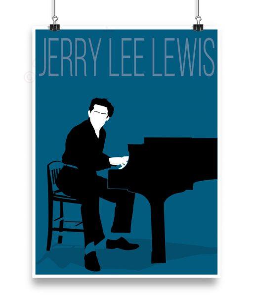 Lámina con ilustración de Jerry Lee Lewis