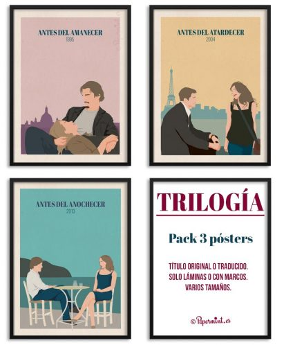 "Pack de 3 posters películas ""Antes del Amanecer-atardecer-anochecer"""